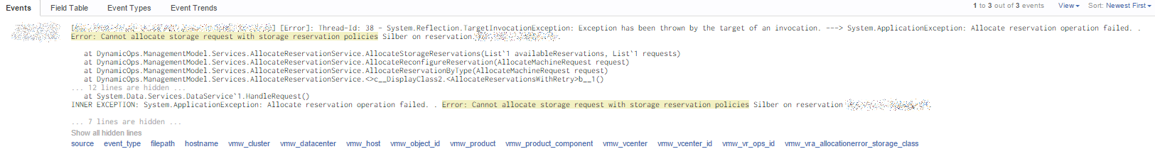 VMware vRealize Automation 6 Allocation Error - Error in Log Insight