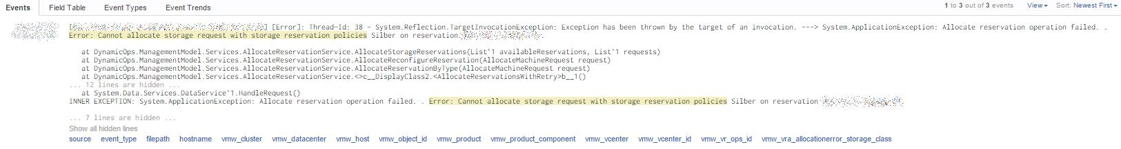 VMware vRealize Automation 6 Allocation Error - Error in Log Insight