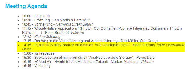 Germany North VMUG Meeting Agenda