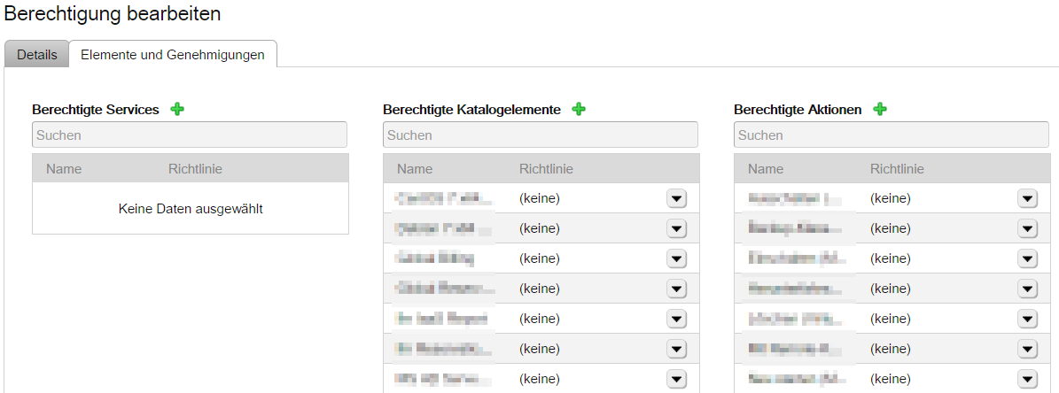 vRealize Automation Entitlements in der GUI