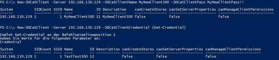 New-SOCatClient
