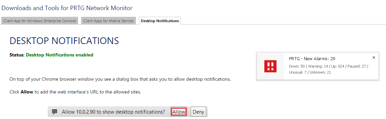 PRTG Desktop Notification
