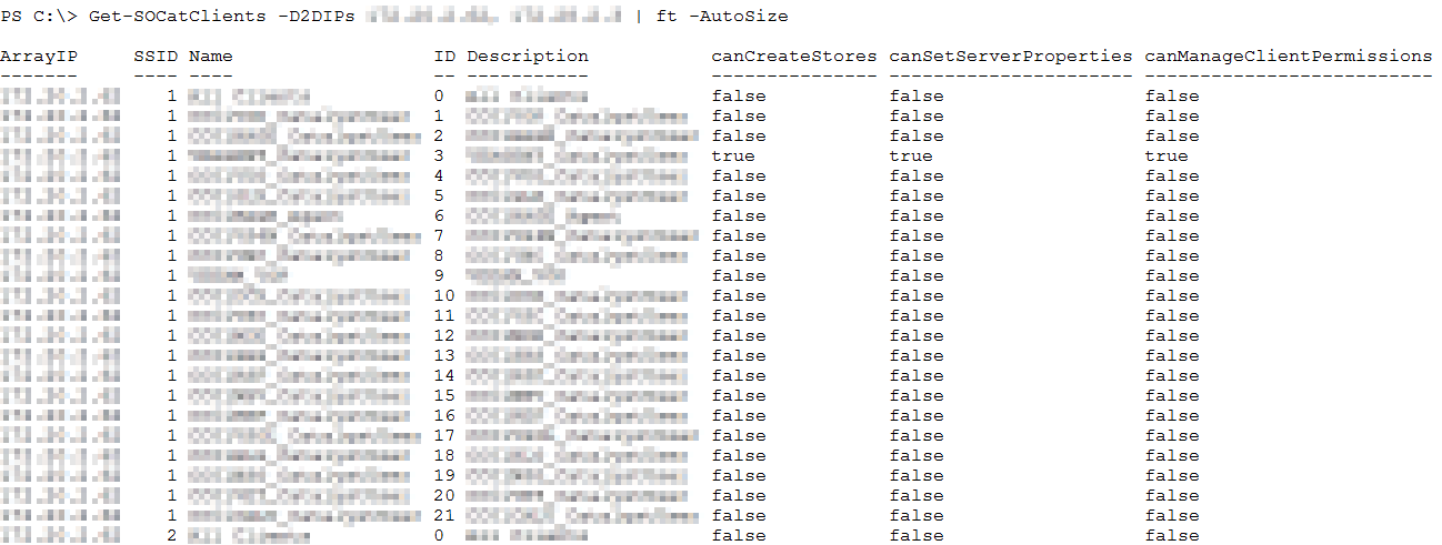 StoreOnce PowerShell - Get-SOCatClients
