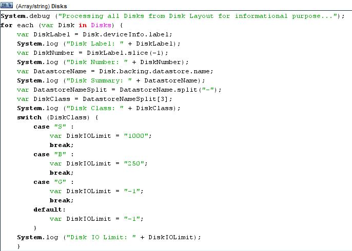 vDisk IOPS Limits Workflow Script Report