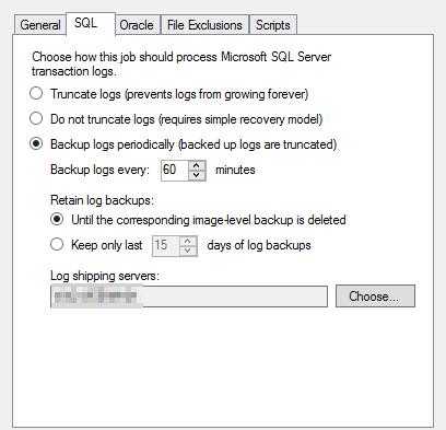 Veeam SQL Log Shipping