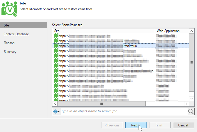Veeam SharePoint Restore - Wizard