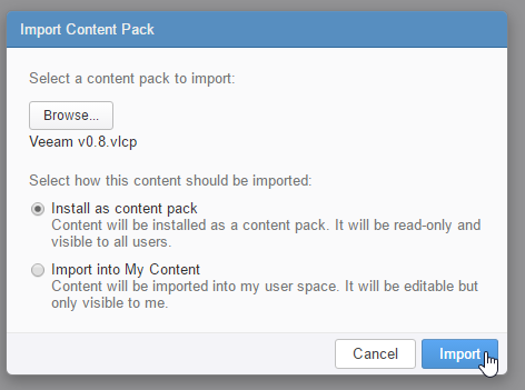 vRealize Log Insight Content Pack für Veeam - Import destination
