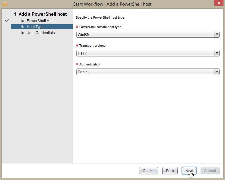 Windows Server 2016 PowerShell Host - add pshost - host type