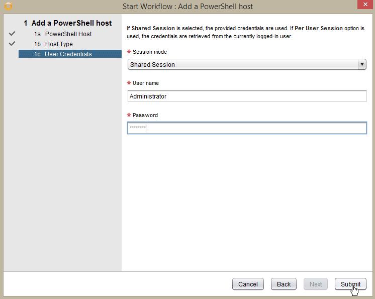 Windows Server 2016 PowerShell Host - add pshost - credentials
