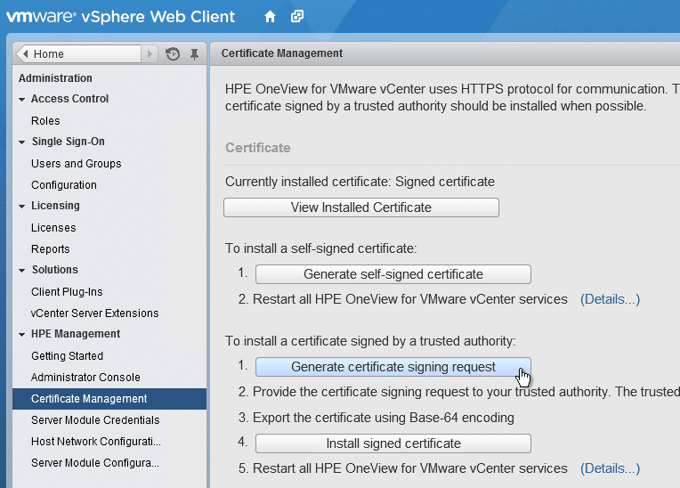 HPE OneView for VMware vCenter 8.0 Migration - Generate signing request
