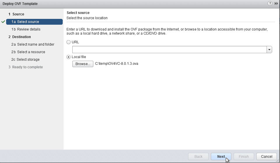 HPE OneView for VMware vCenter 8.0 Migration - Select OVA