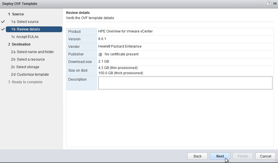 HPE OneView for VMware vCenter 8.0 Migration - OVA Details