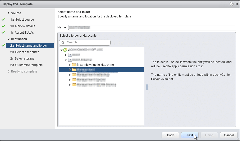 HPE OneView for VMware vCenter 8.0 Migration - Appliance Name and Folder