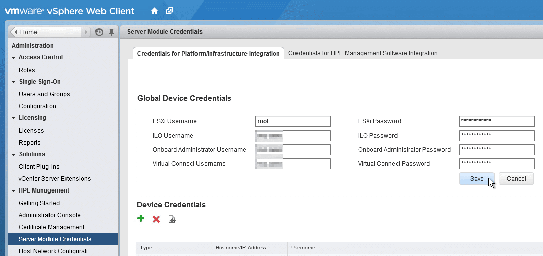 HPE OneView for VMware vCenter 8.0 Migration - Global Device Credentials