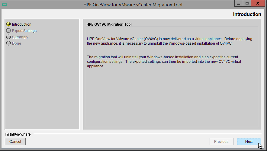 HPE OneView for VMware vCenter 8.0 Migration - Run Migration Wizard