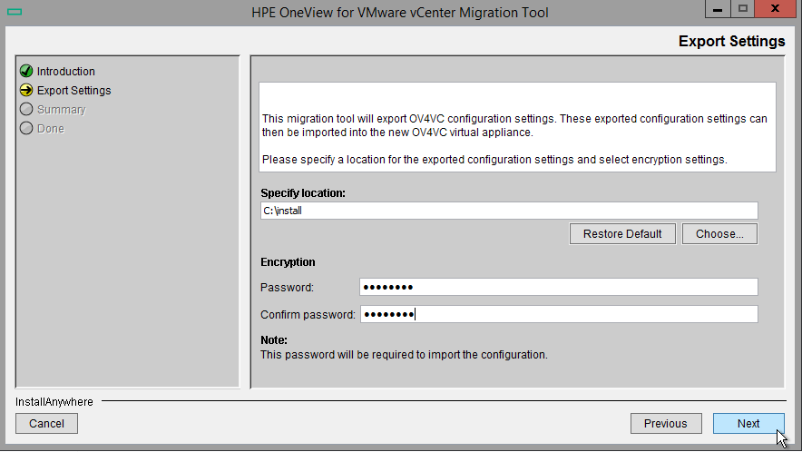 HPE OneView for VMware vCenter 8.0 Migration - Export Destination
