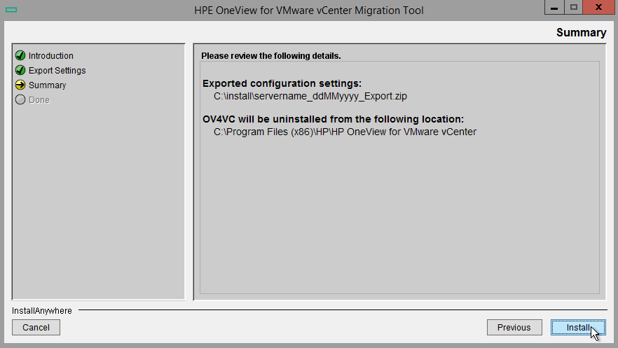 HPE OneView for VMware vCenter 8.0 Migration - Uninstall Summary