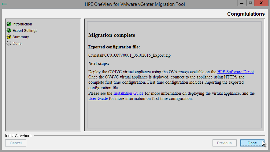 HPE OneView for VMware vCenter 8.0 Migration - Migration complete