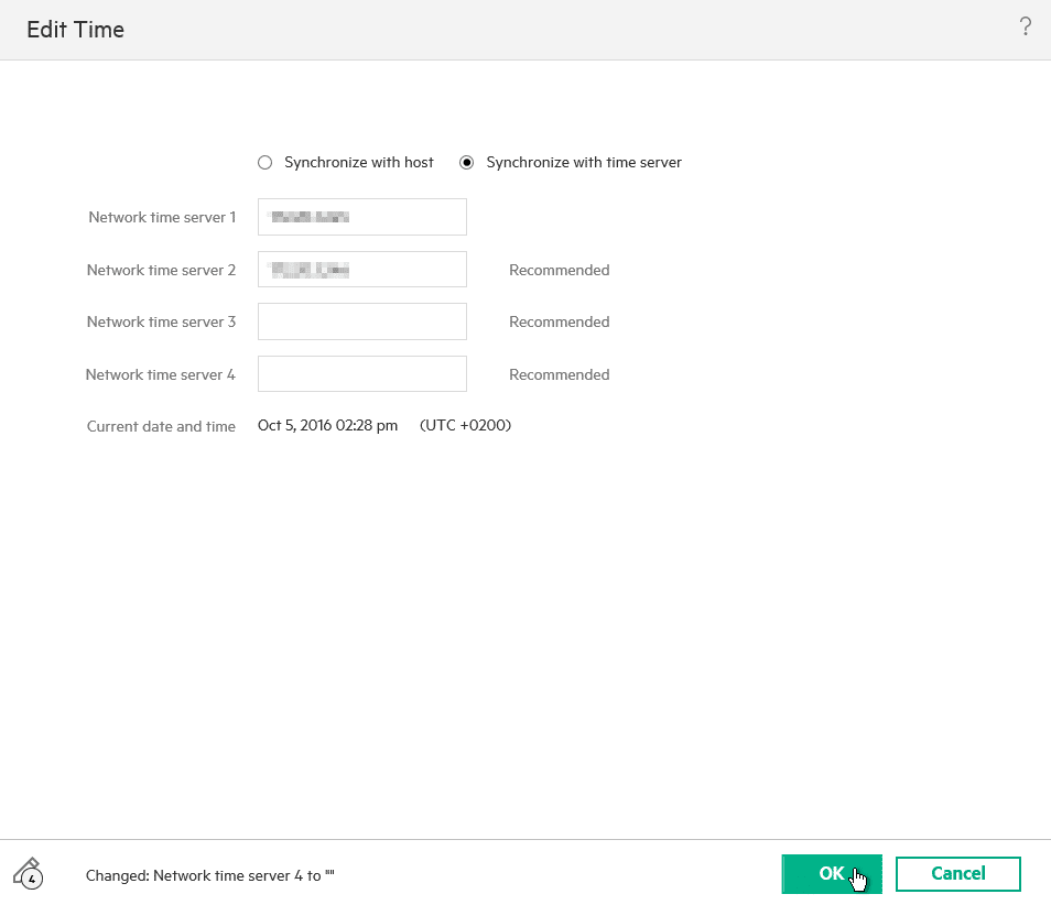 HPE OneView for VMware vCenter 8.0 Migration - Set Time
