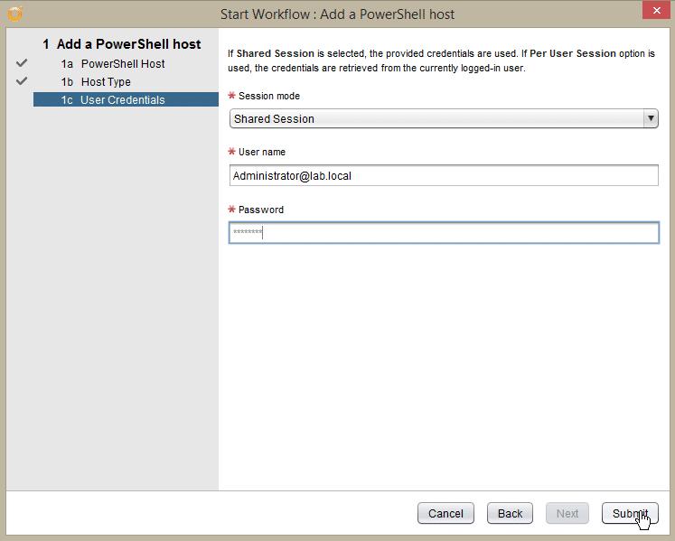 Windows Server 2016 PowerShell Host - secure add pshost - credentials