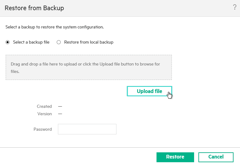 HPE OneView for VMware vCenter 8.0 Migration - Select Backup