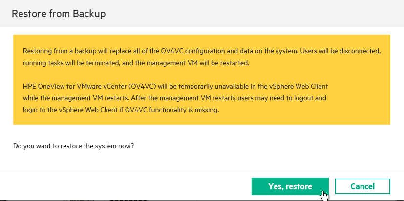 HPE OneView for VMware vCenter 8.0 Migration - Process Restore
