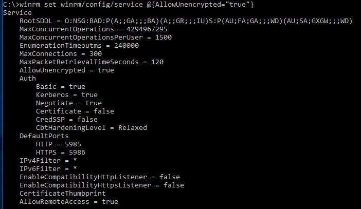 Windows Server 2016 PowerShell Host - - allow unencrypted