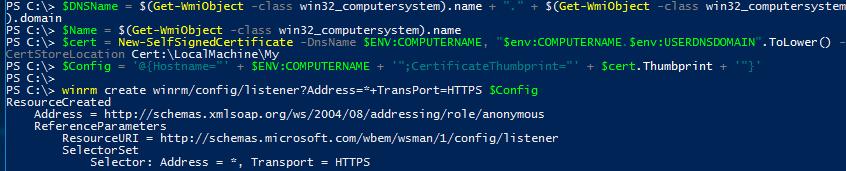 Windows Server 2016 PowerShell Host - Self-Signed Certificate