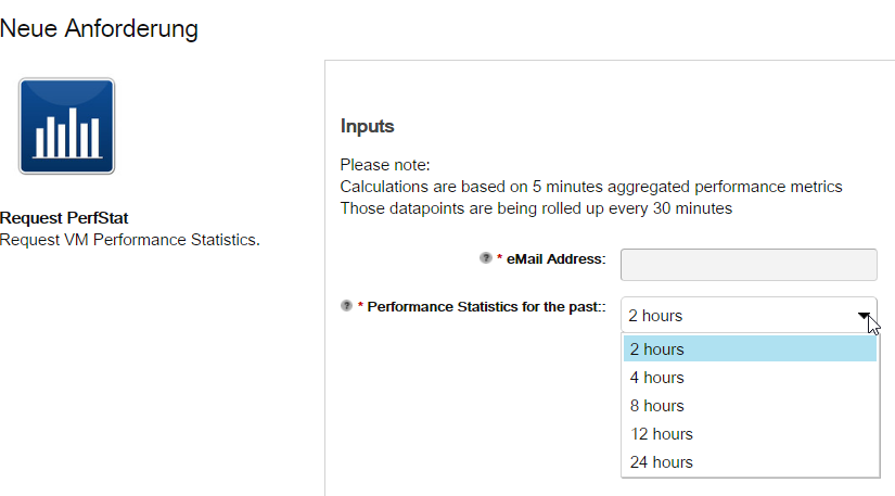 vRealize Automation VM Performance Summary - Request Input