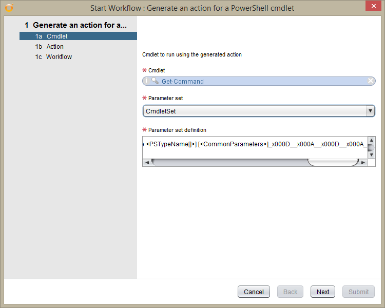 vRealize Orchestrator PowerShell Host - generate an action for a powershell cmdlet - Cmdlet