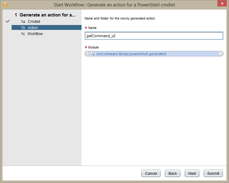 vRealize Orchestrator PowerShell Host - generate an action for a powershell cmdlet - Action