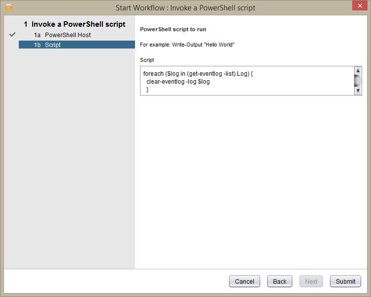 vRealize Orchestrator PowerShell Host - invoke a powershell script - Script