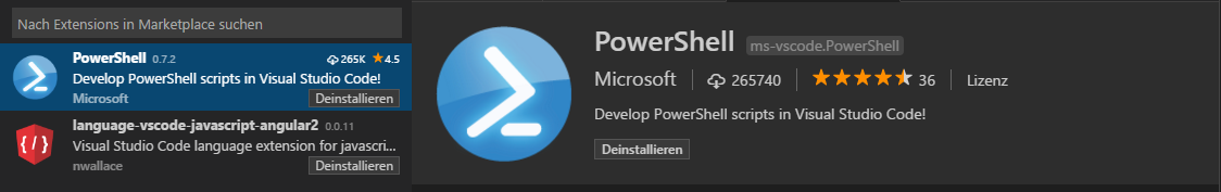 PowerShell Module mit Visual Studio Code - extension powershell