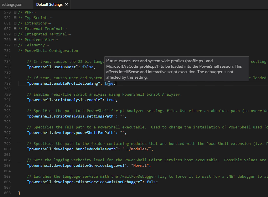 PowerShell Module mit Visual Studio Code - default settings