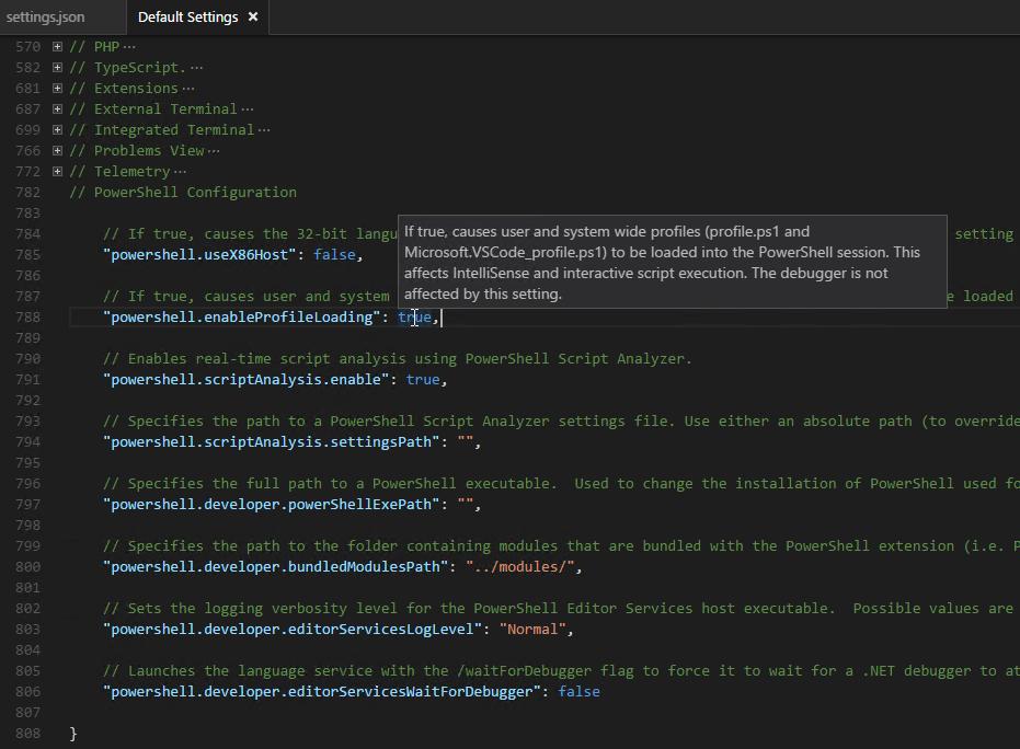 PowerShell Module mit Visual Studio Code - default settings