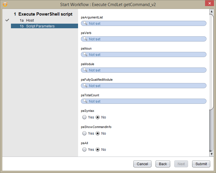 vRealize Orchestrator PowerShell Host - Test Workflow - Script Parameters