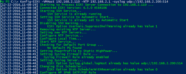 ESXi Basis Konfiguration mit PowerCLI