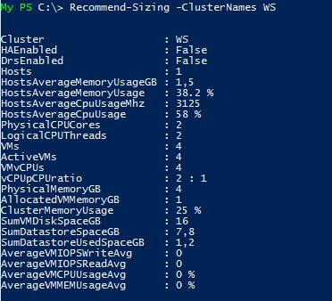 VMware vSphere Sizing Script without Stats v1.2