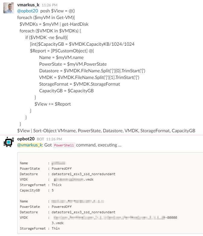 OpBot vSphere PowerCLI Operations - Complex Script