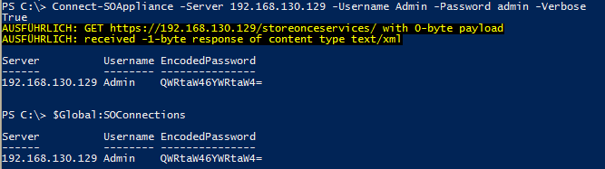 StoreOnce PowerShell Module Version 2 - Connect-SOAppliance Verbose