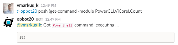 OpBot vSphere PowerCLI Operations - get-command