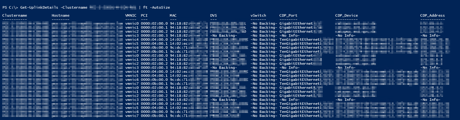 ESXi vmnic Uplink Details - PS Result and Command