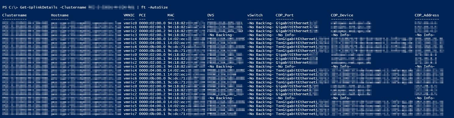 ESXi vmnic Uplink Details - PS Result and Command