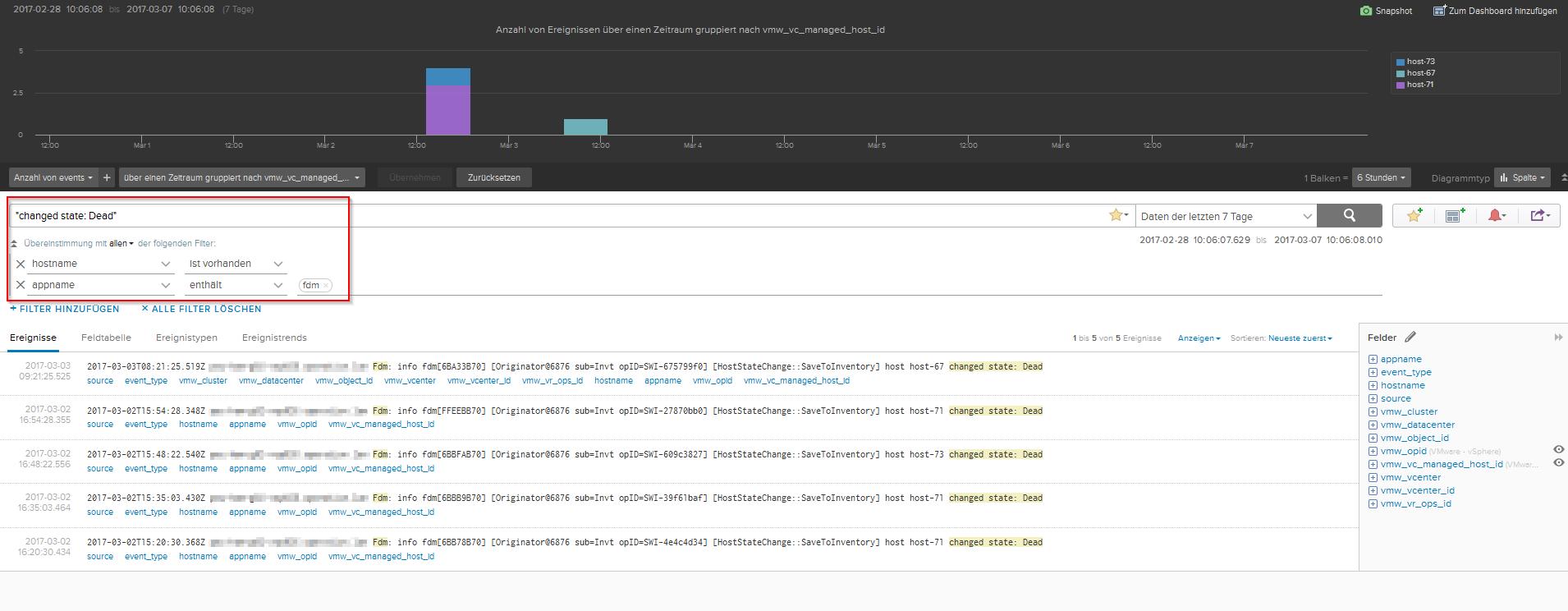 vRealize Log Insight - FDM - vSphere HA isolation Events