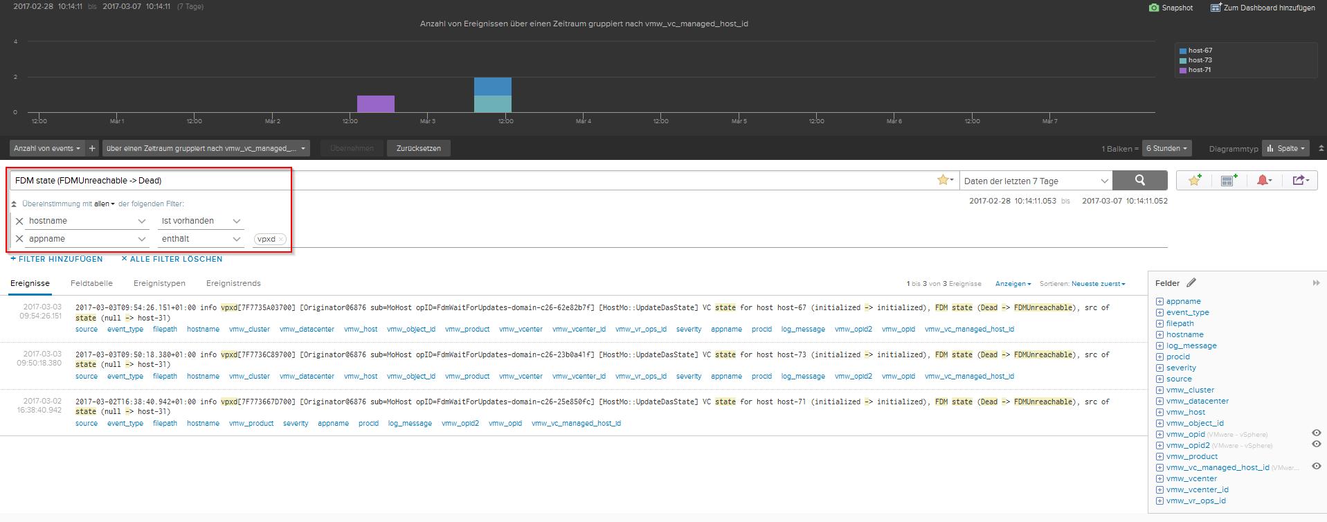 vRealize Log Insight - VPXD- vSphere HA isolation Events