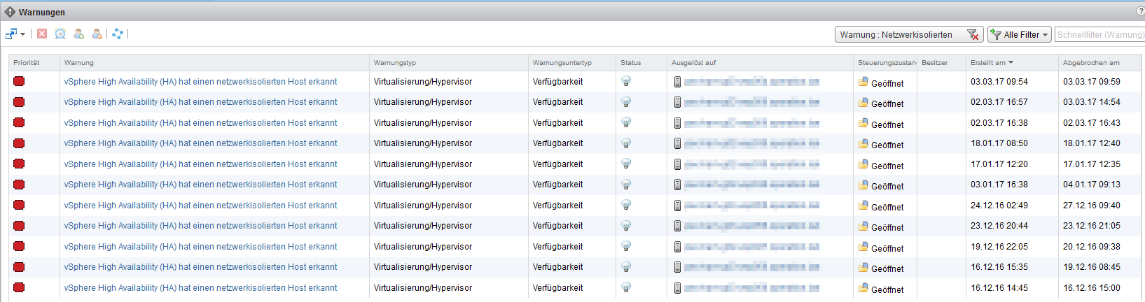 vRealize Operations Manager - Warnungen - vSphere HA isolation Events