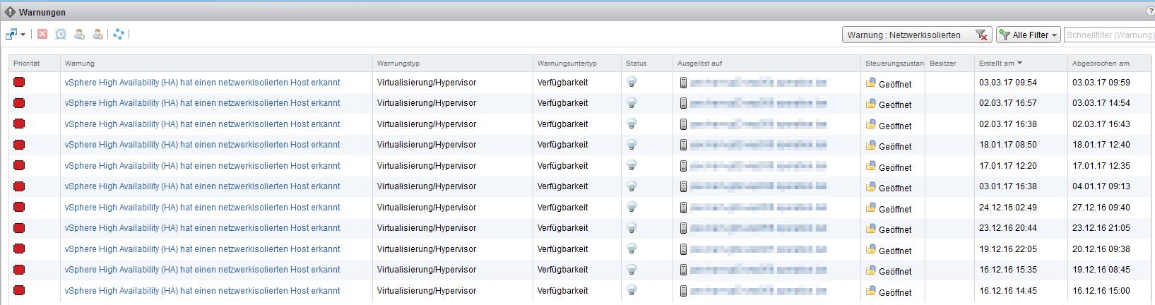 vRealize Operations Manager - Warnungen - vSphere HA isolation Events