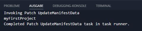 Custom Plaster Template - VSCode Task UpdateManifestData-Patch Output