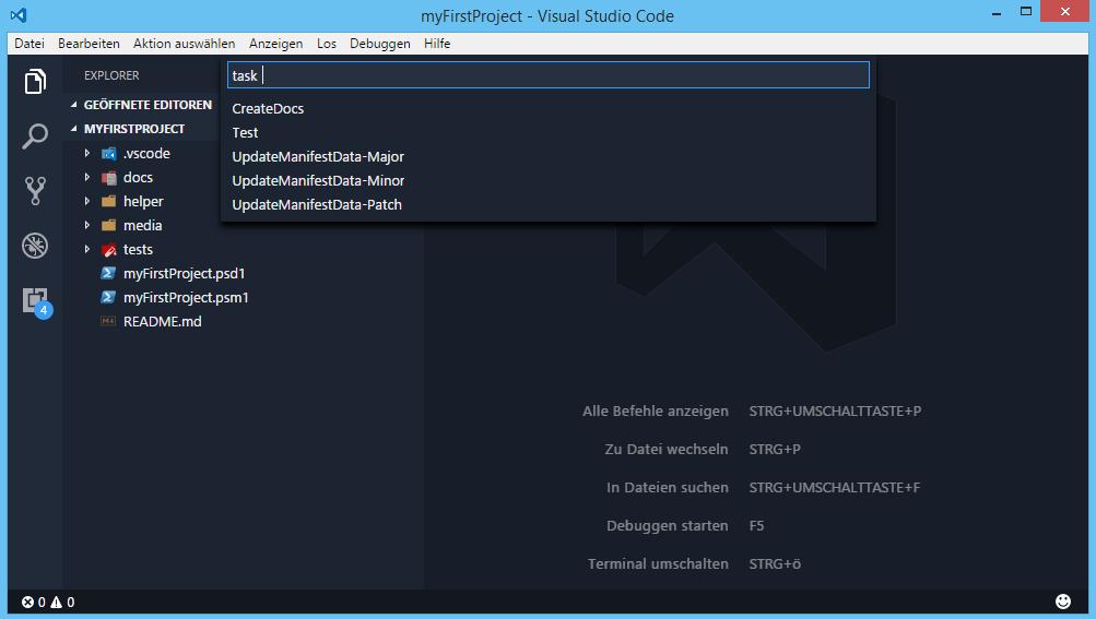 Custom Plaster Template - VSCode Tasks