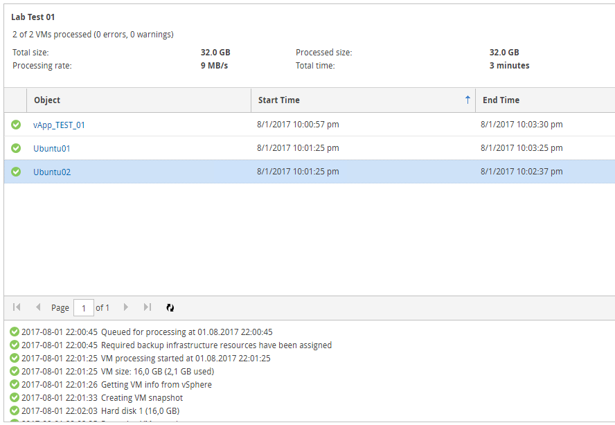 Veeam Self-Service Backup Portal - User Task Logs